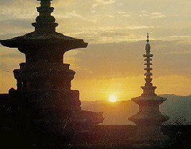 Pagodas at the dawn